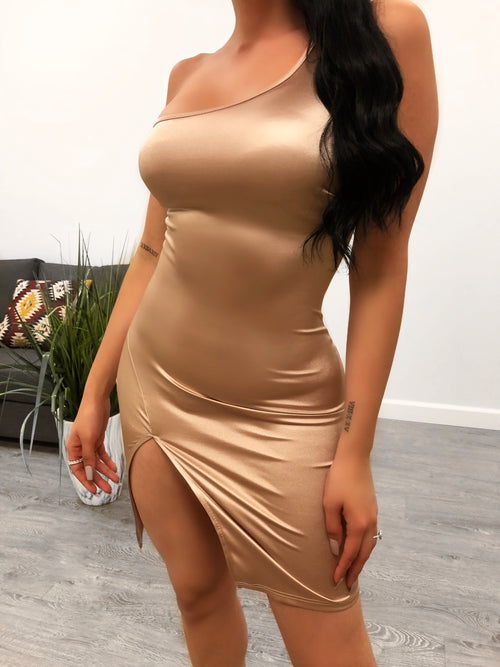 Sophie Satin Dress (champagne)