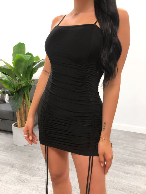 black mini dress, spaghetti strap, scrunch, ties, square neck