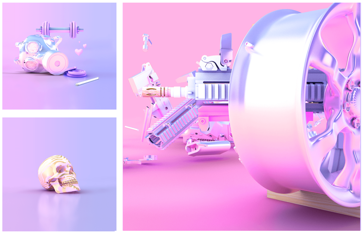 "'Soft Core' : A series of 3D objects studying the juxtaposition of ""hard"" content and ""soft"" presentation."