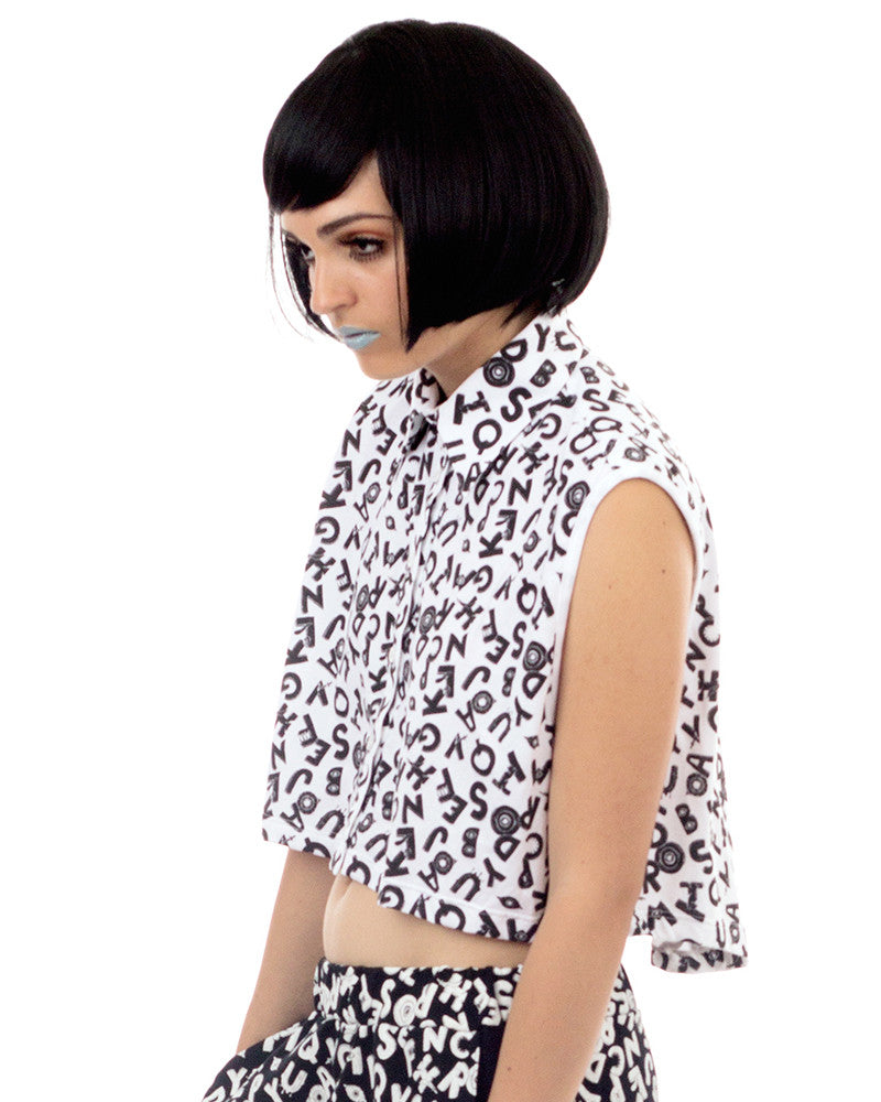 ABCD PRINT CROPPED SHIRT - Eros Mortis