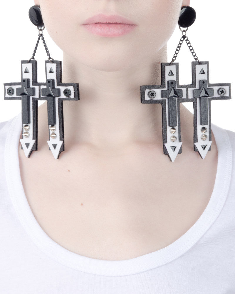 DOUBLE CROSS EARRINGS - Eros Mortis