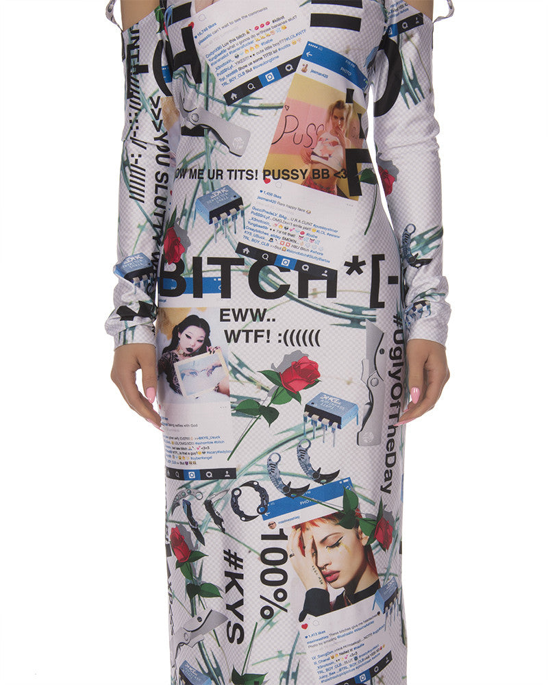 KY$ FULL PRINT CUT OUT MAXI DRESS - Eros Mortis