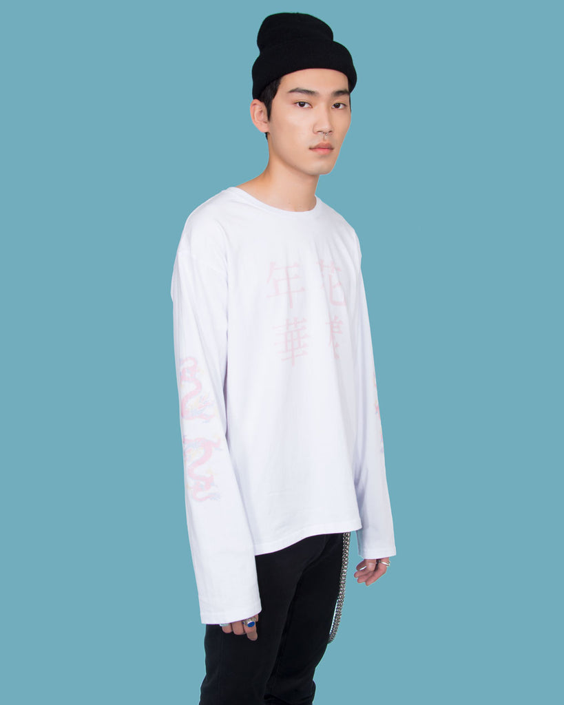 IN THE MOOD FOR LOVE LONG SLEEVE WHITE T-SHIRT - Eros Mortis