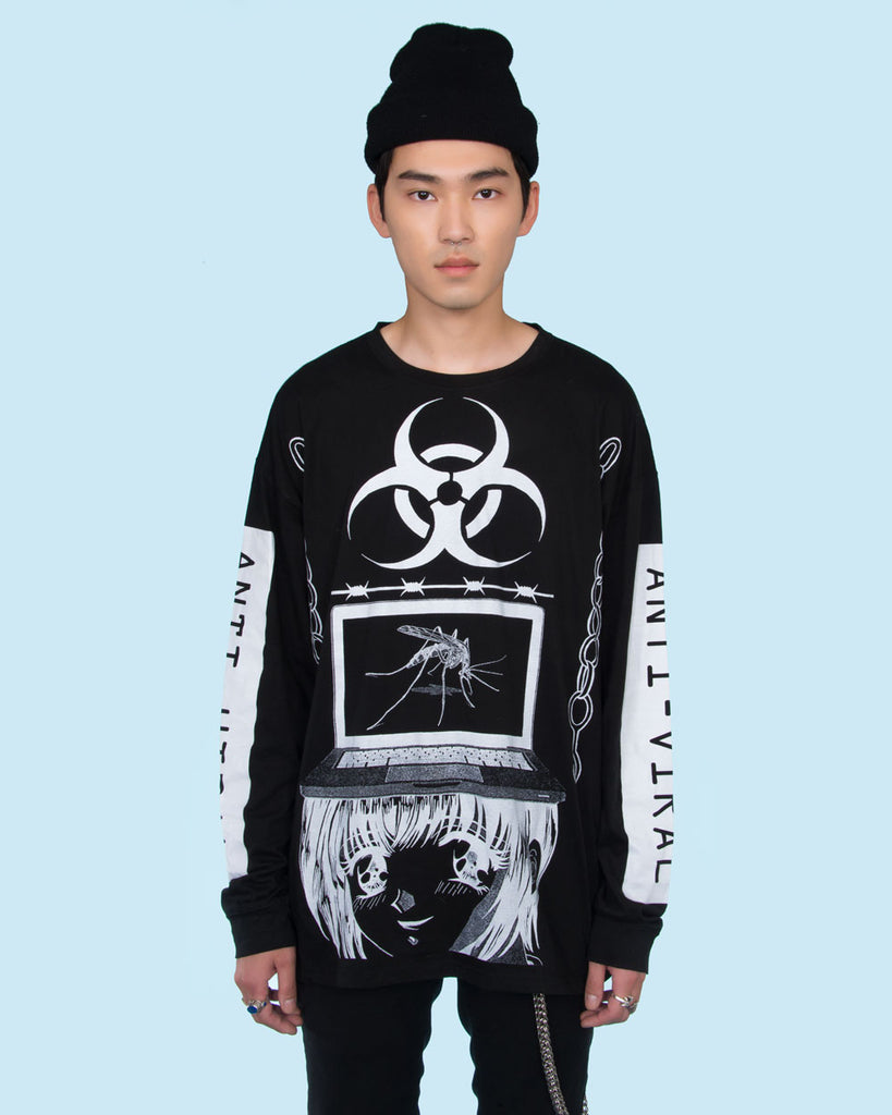 ANTI-VIRAL BY YENTA BLACK LONG SLEEVE TEE - Eros Mortis