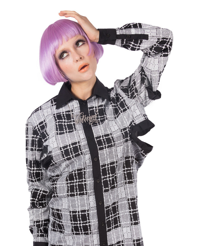 PLAID PRINT SHIRT DRESS - Eros Mortis