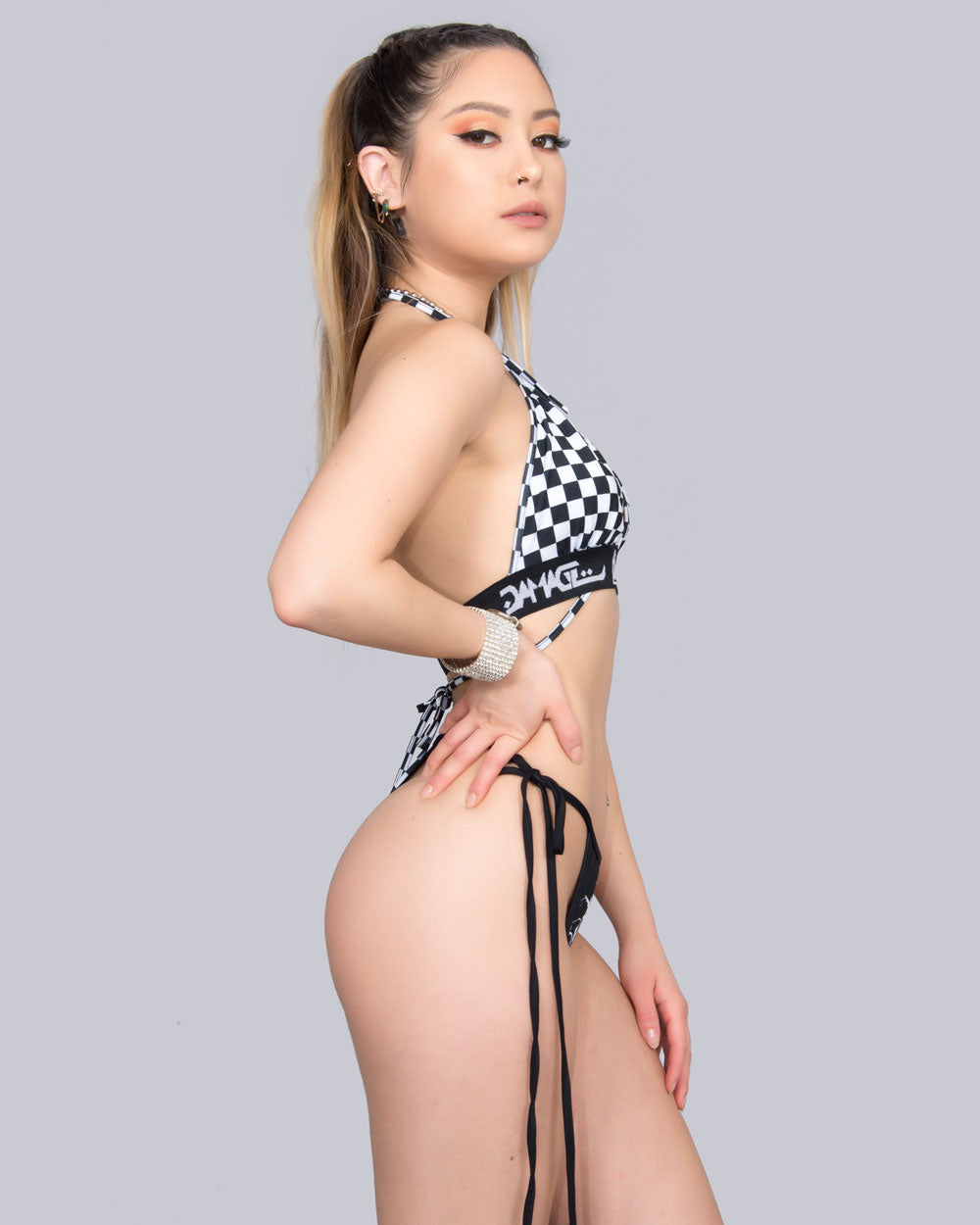 BLACK CHECKER BIKINI TOP - Eros Mortis