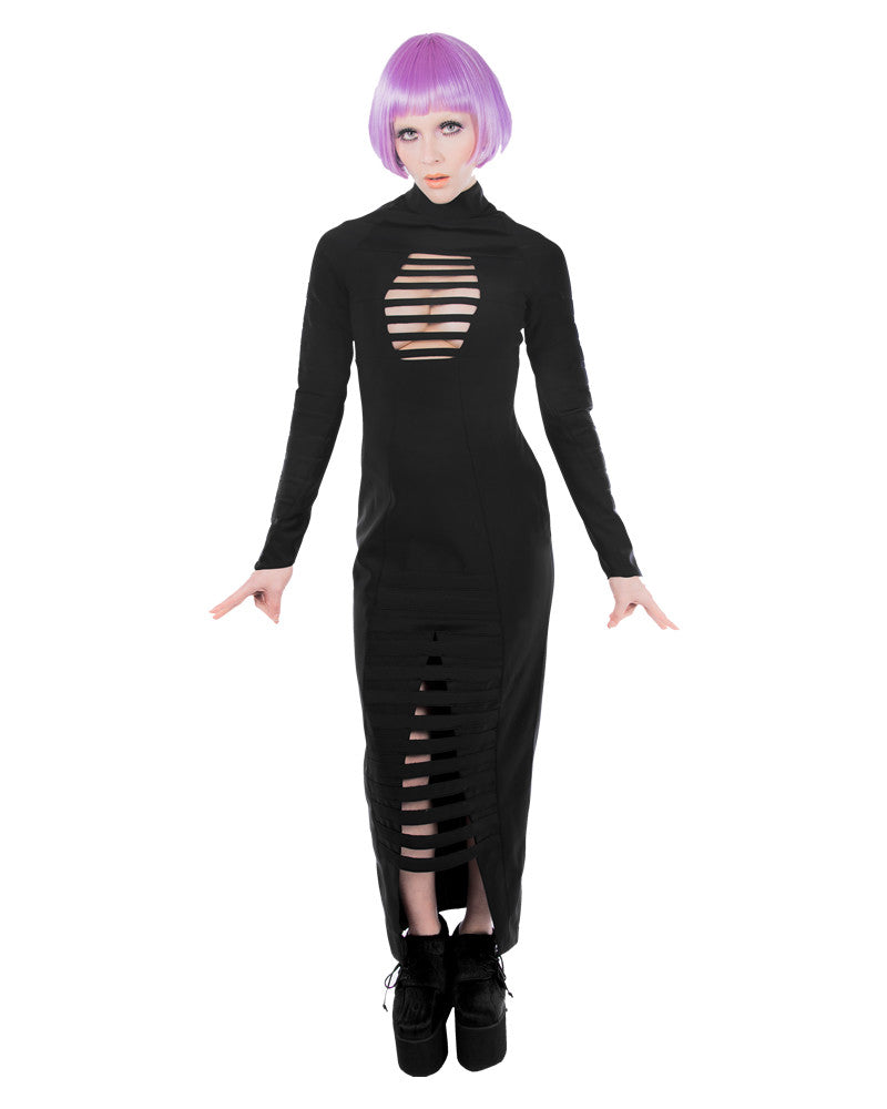 MKF BLACK RUBBER MAXI BONDAGE DRESS - Eros Mortis