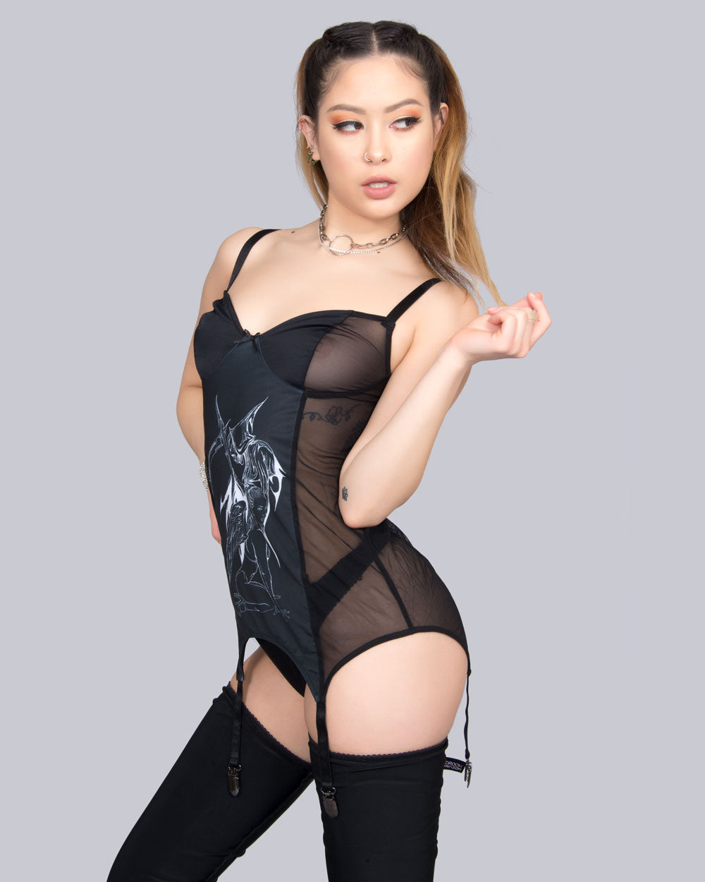 ANTI-VIRAL BY YENTA BLACK GARTER BUSTIER - Eros Mortis