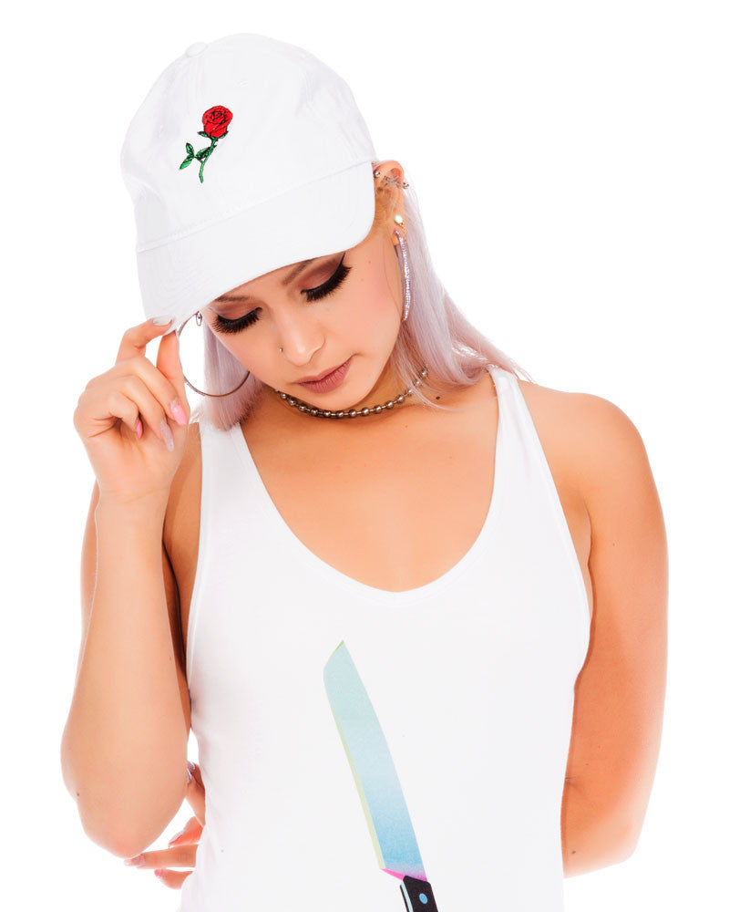 WHITE EMBROIDERY ROSE CAP - Eros Mortis