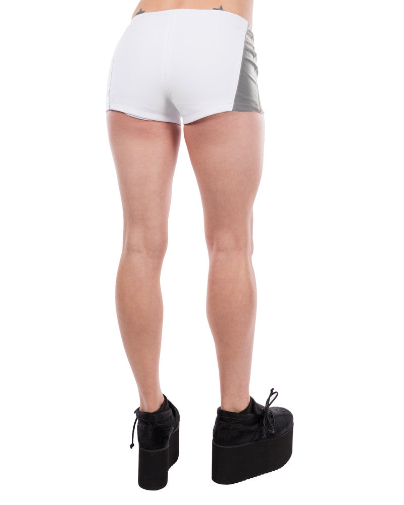 MKF WHITE REFLECTIVE SHORTS - Eros Mortis