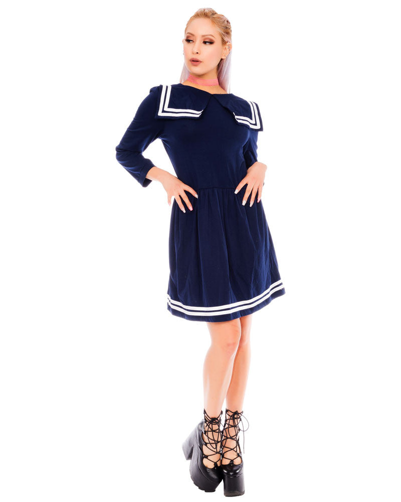 NAVY BLUE SAILOR DRESS - Eros Mortis