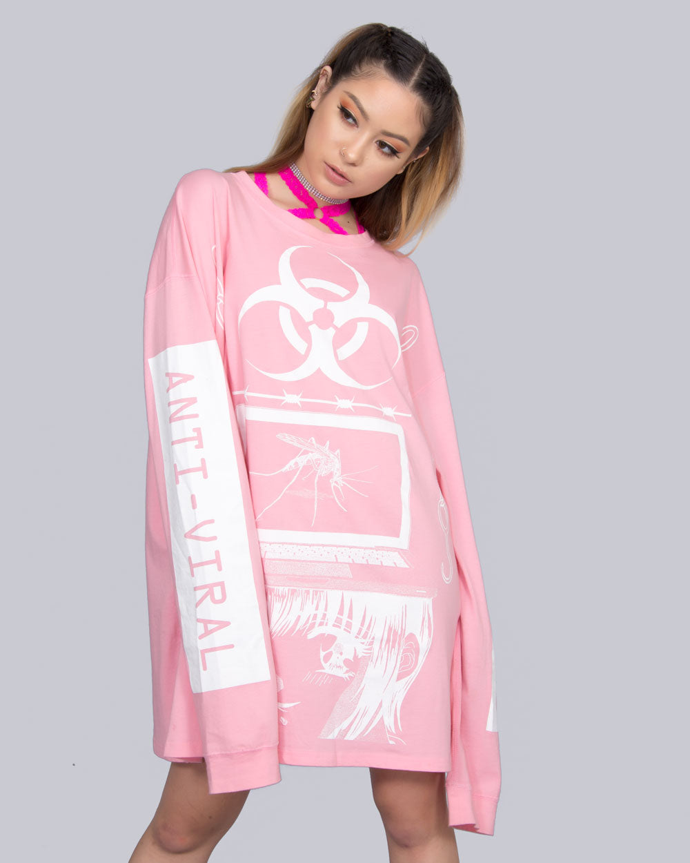 ANTI-VIRAL BY YENTA PINK LONG SLEEVE TEE - Eros Mortis