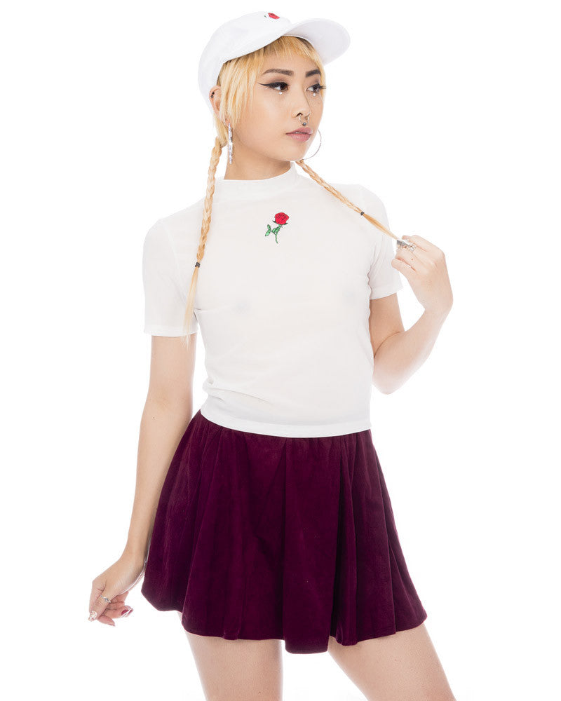 WHITE ROSE CROPPED MESH TEE - Eros Mortis