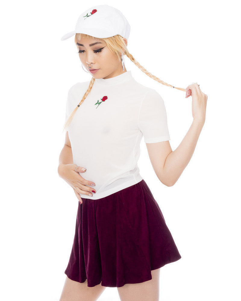 WHITE ROSE CROPPED MESH TEE