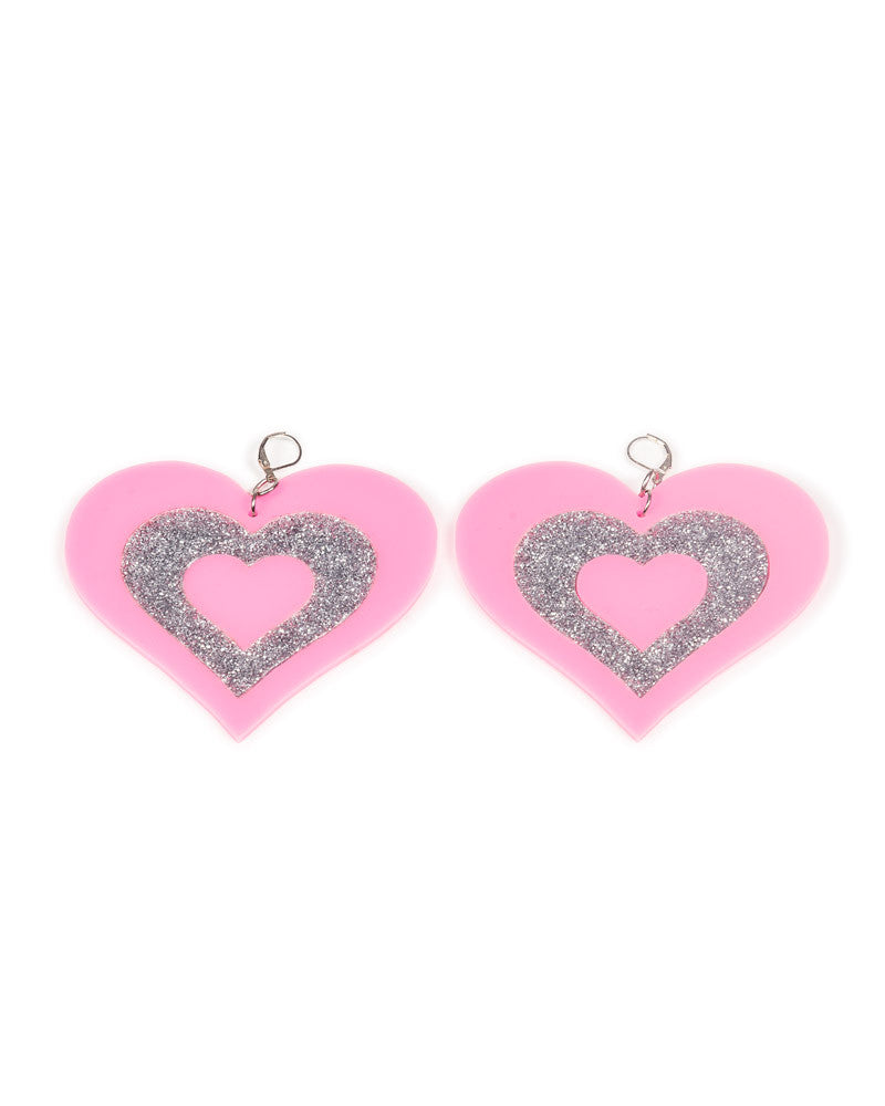 PINK HEART BREAKER EARRINGS