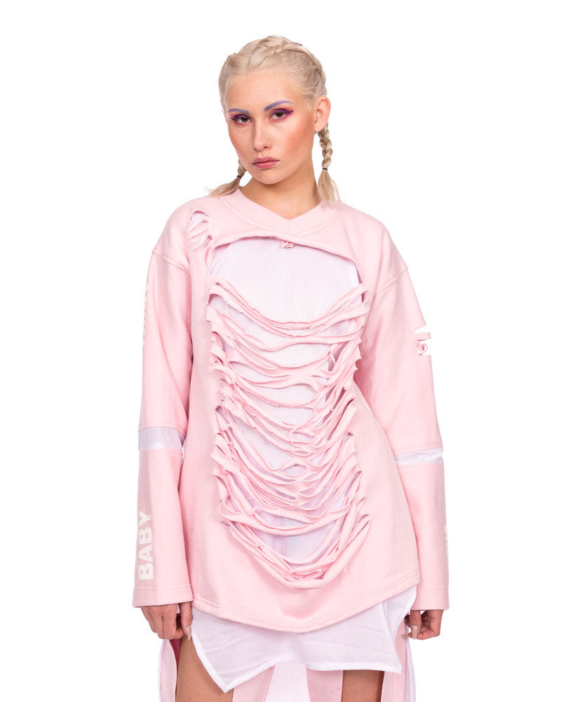 PINK SHREDDED EXTRA LONG SWEATER - Eros Mortis