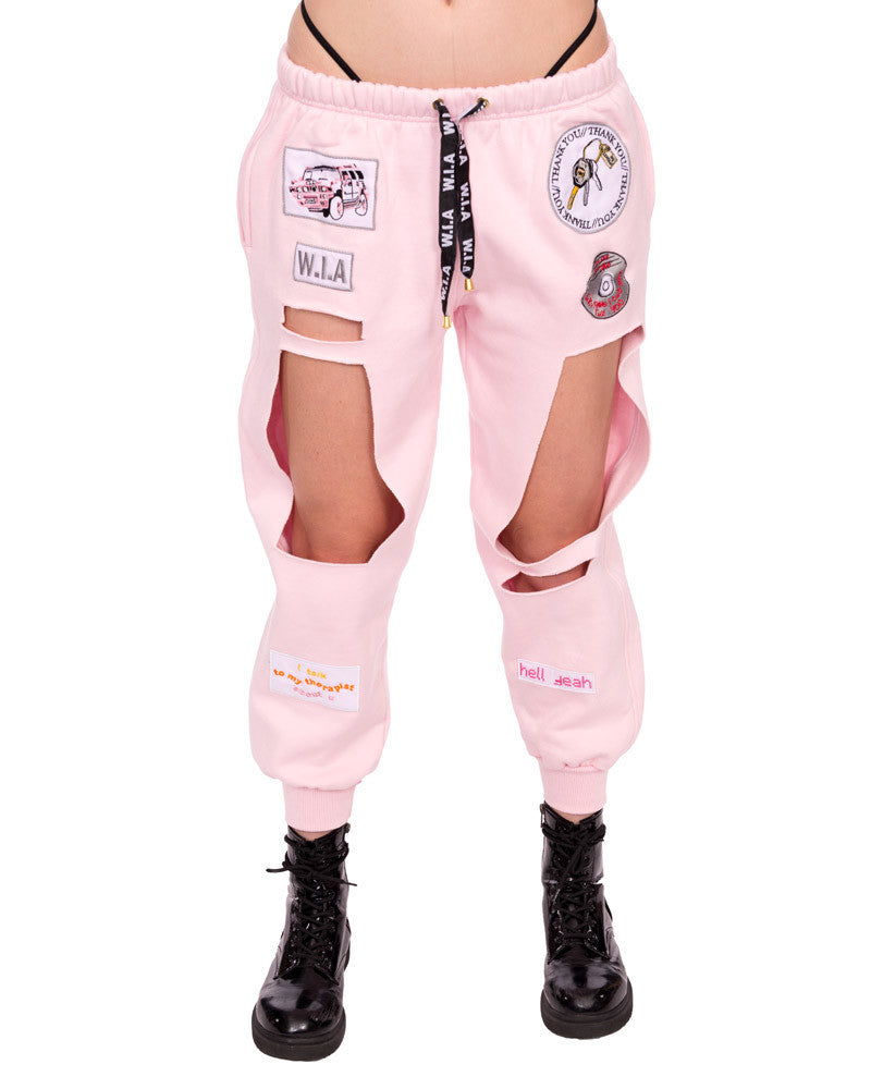 PINK SHREDDED JERSEY SWEATPANTS - Eros Mortis
