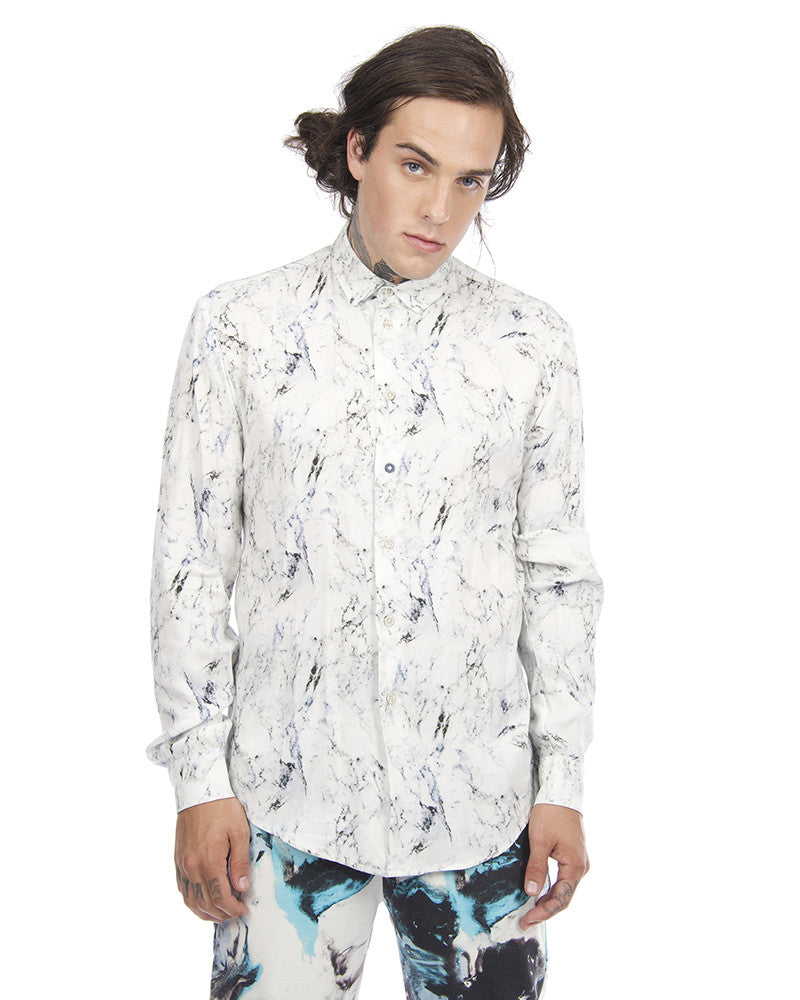 MARBLE PRINT BUTTON DOWN SHIRT - Eros Mortis