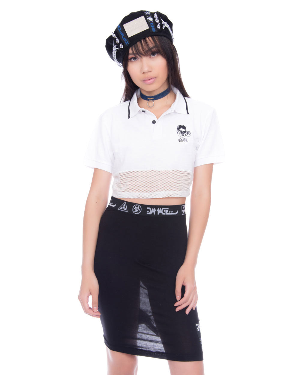 PYONGYANG LEADER CROPPED WHITE POLO TEE - Eros Mortis