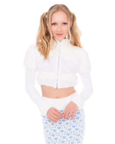 MkF FLUFFY KNIT CROPPED JACKET