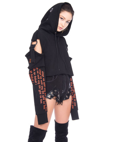 CONFORMED BLACK CROPPED HOODIE
