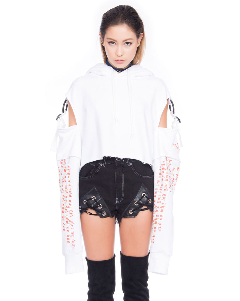 CONFORMED WHITE CROPPED HOODIE