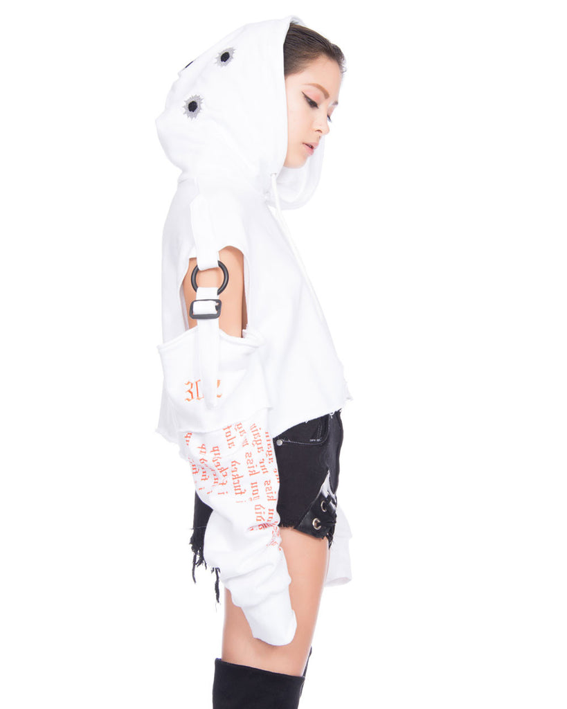 CONFORMED WHITE CROPPED HOODIE - Eros Mortis
