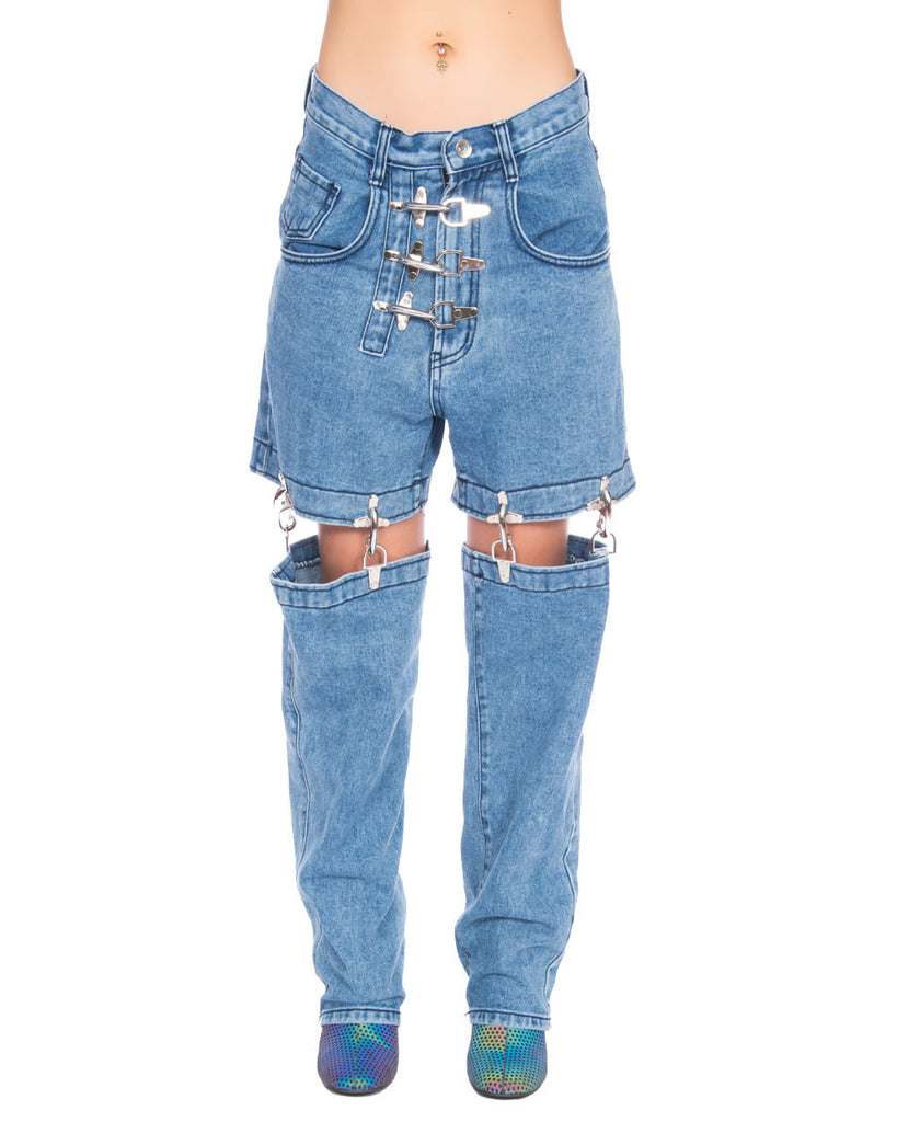 FIRE MAN TWO PART DENIM PANTS - Eros Mortis