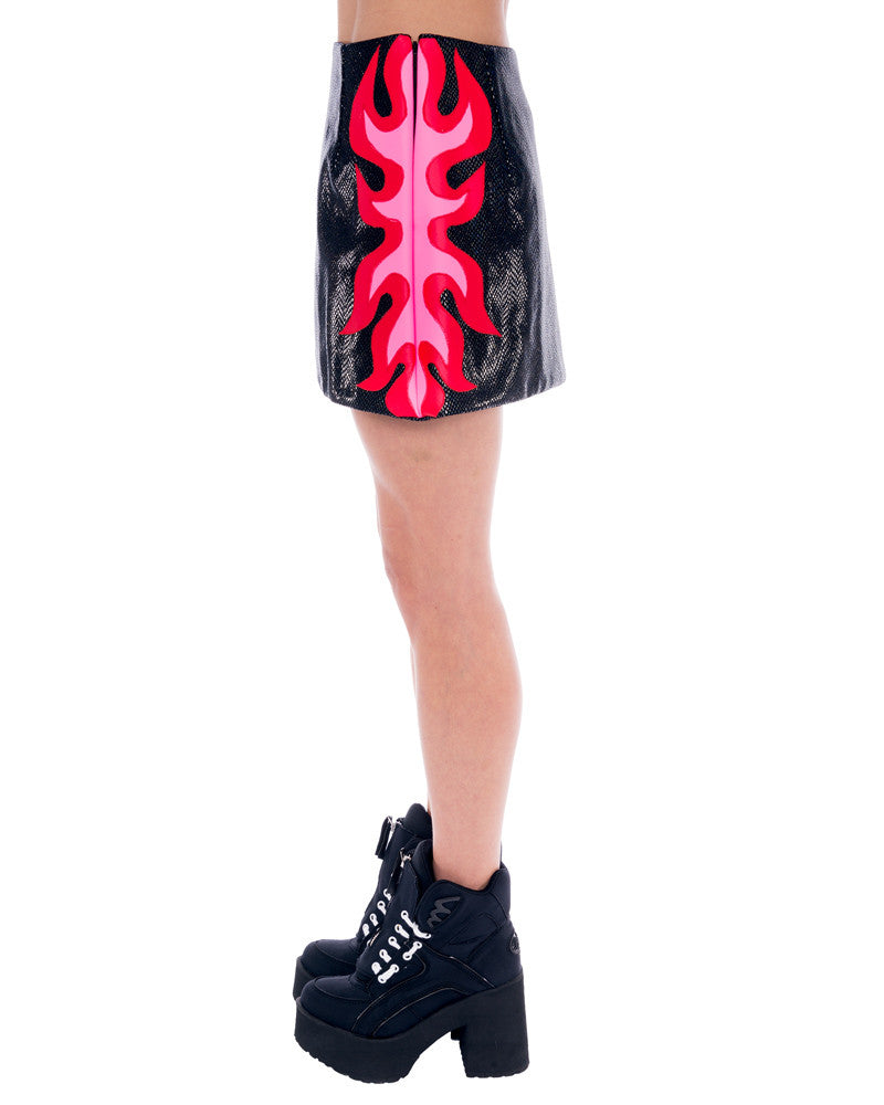 FLAMING SNAKESKIN MINI SKIRT - Eros Mortis