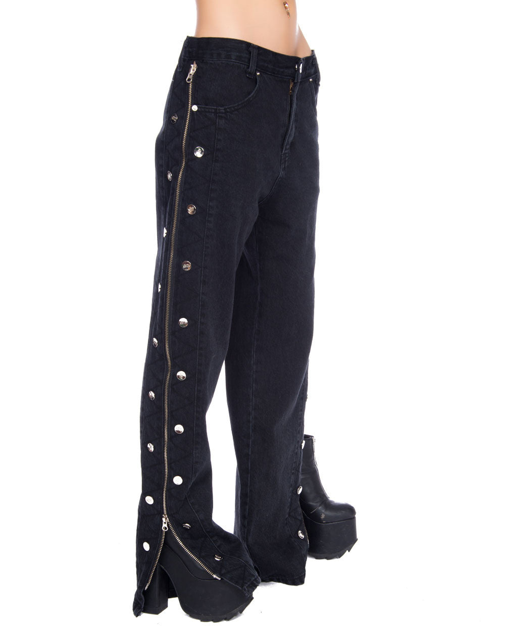 SIDE ZIP SNAP PANTS - Eros Mortis