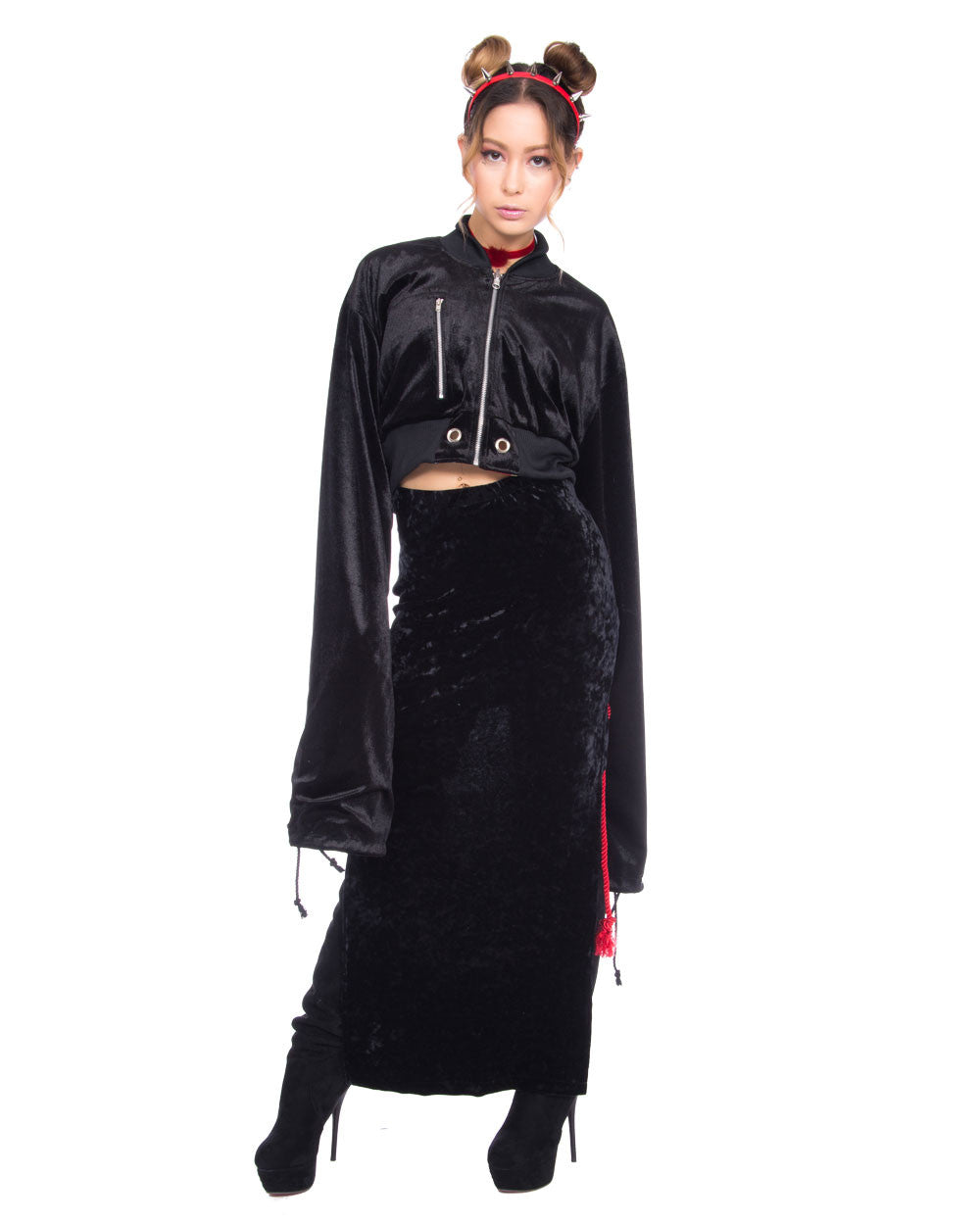 BLACK SHIBARI VELVET 2 WAY SKIRT