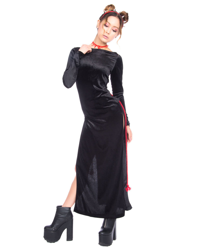 SHIBARI BLACK VELVET 2 WAY DRESS - Eros Mortis