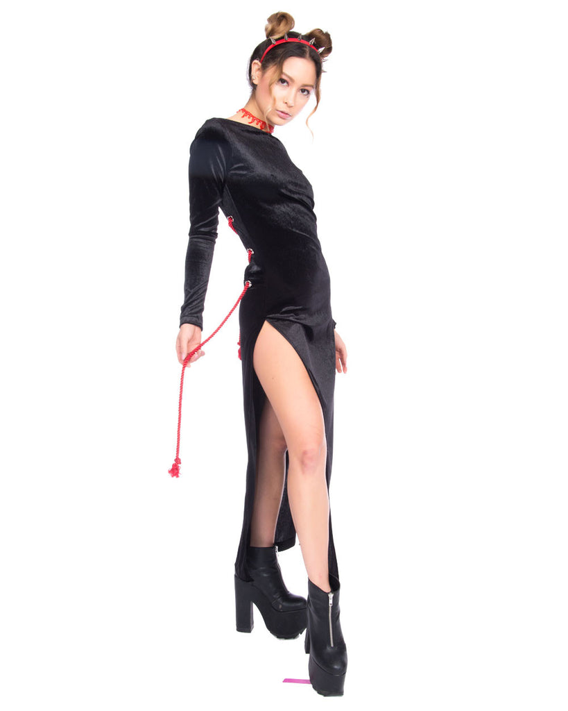 SHIBARI BLACK VELVET 2 WAY DRESS