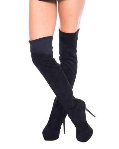 VINTAGE STYLE STILETTO OVER THE KNEE BOOTS