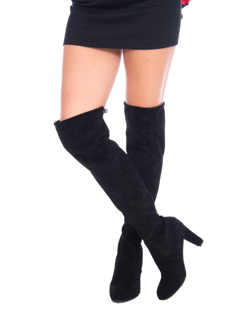 CHUNKY HEEL SUEDE THIGH BOOTS - Eros Mortis