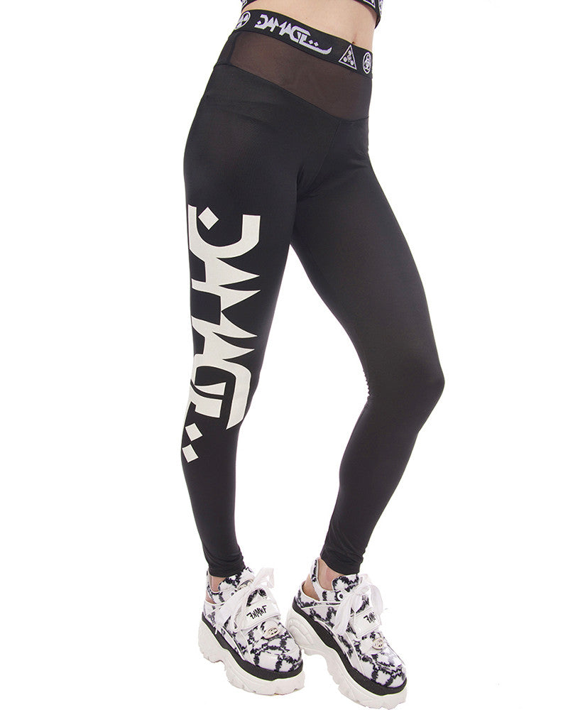 DAMAGE MESH LOGO LEGGINGS - Eros Mortis