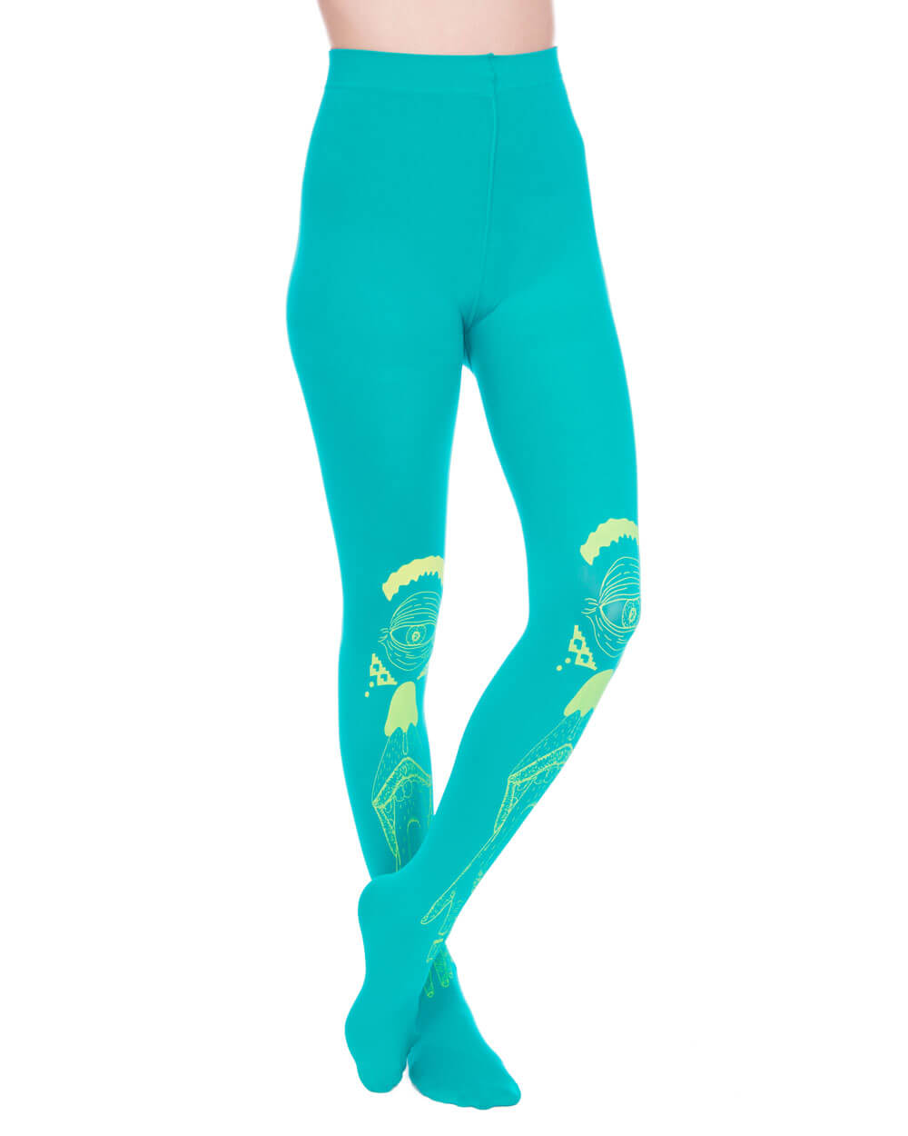 HAND EYE CYAN TIGHTS - Eros Mortis