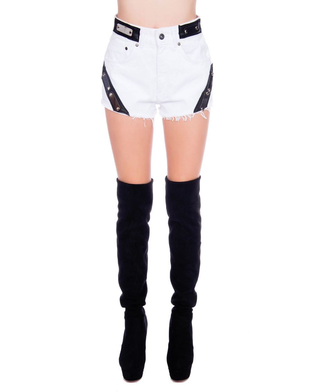KOJI WHITE DENIM SHORTS - Eros Mortis