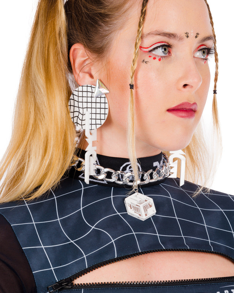 SPHERE GRID GEM EARRINGS - Eros Mortis