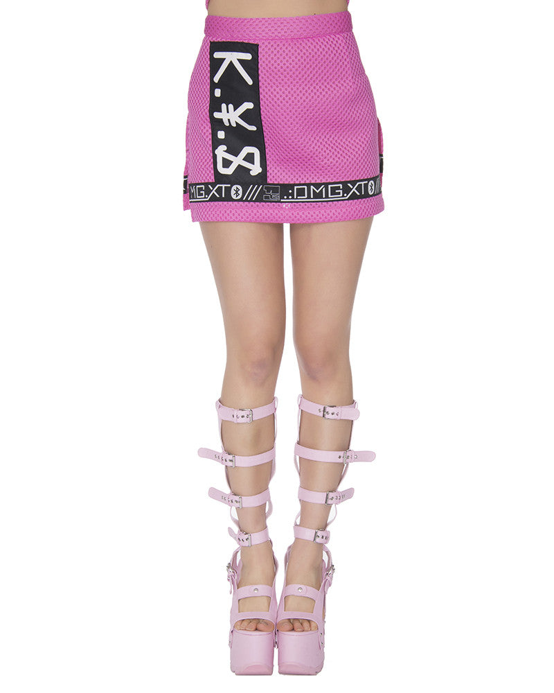 KY$ LIMITED EDITION PINK MESH MINI SKIRT - Eros Mortis