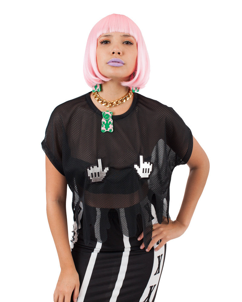 BLACK DRIPPY CLICK CROP TOP - Eros Mortis