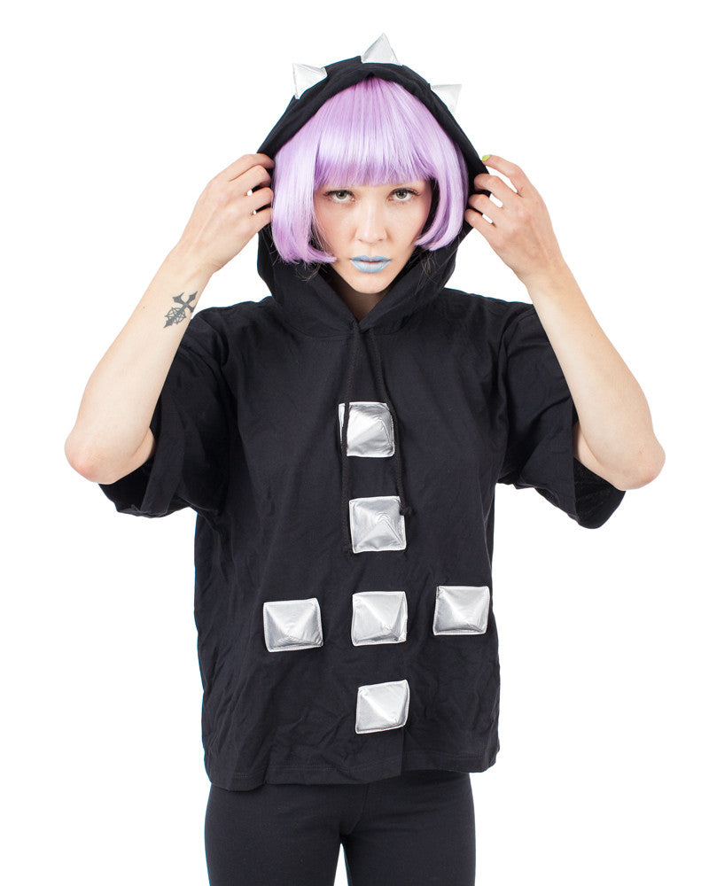 SPIKE CROSS UNISEX HOODED TEE - Eros Mortis