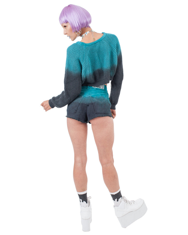 TEAL FADE DENIM SHORTS - Eros Mortis