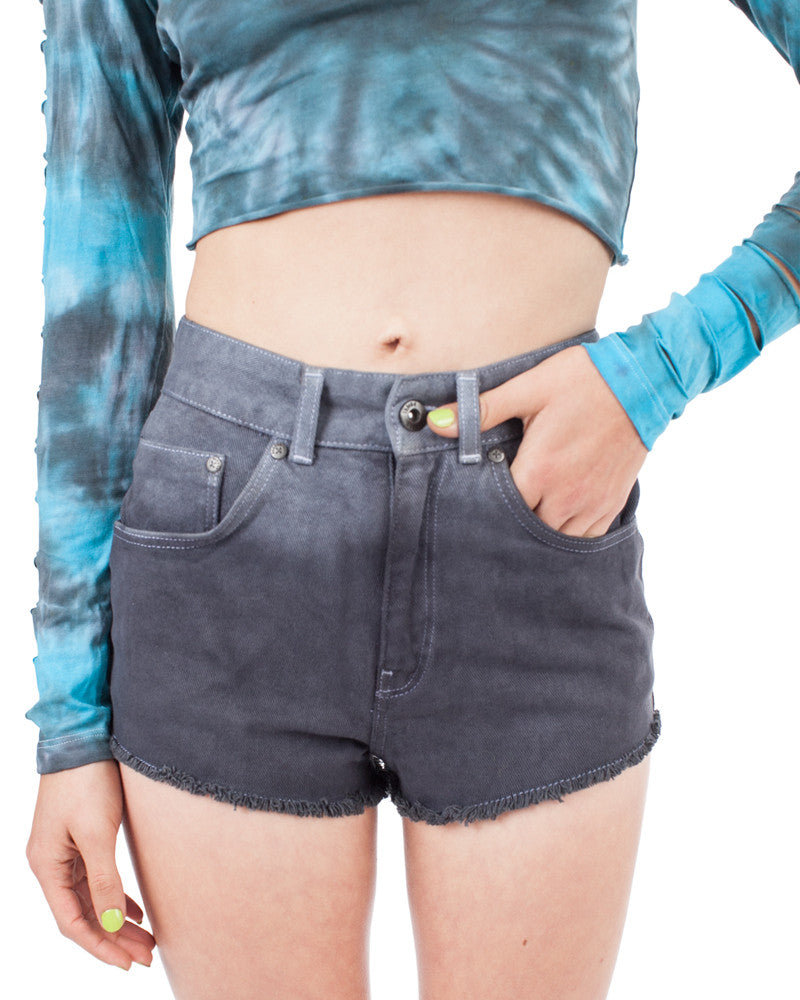 CHARCOAL FADE DENIM SHORTS - Eros Mortis