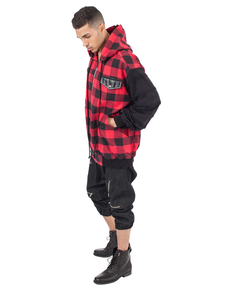 PLAID HOODED JACKET