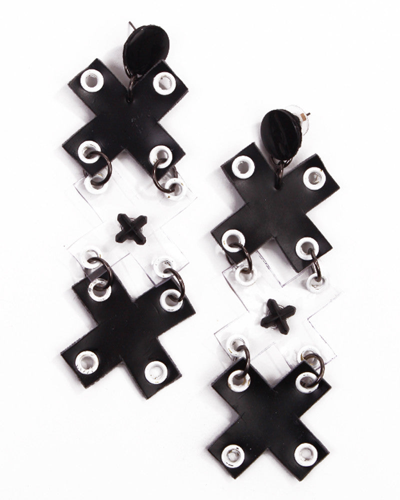 BLACK VINYL TRIPLE X EARRINGS - Eros Mortis