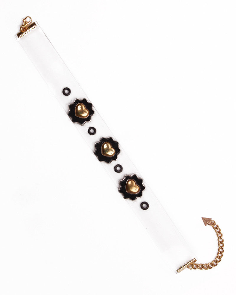 WHITE LEATHER FLOWER CHOKER - Eros Mortis