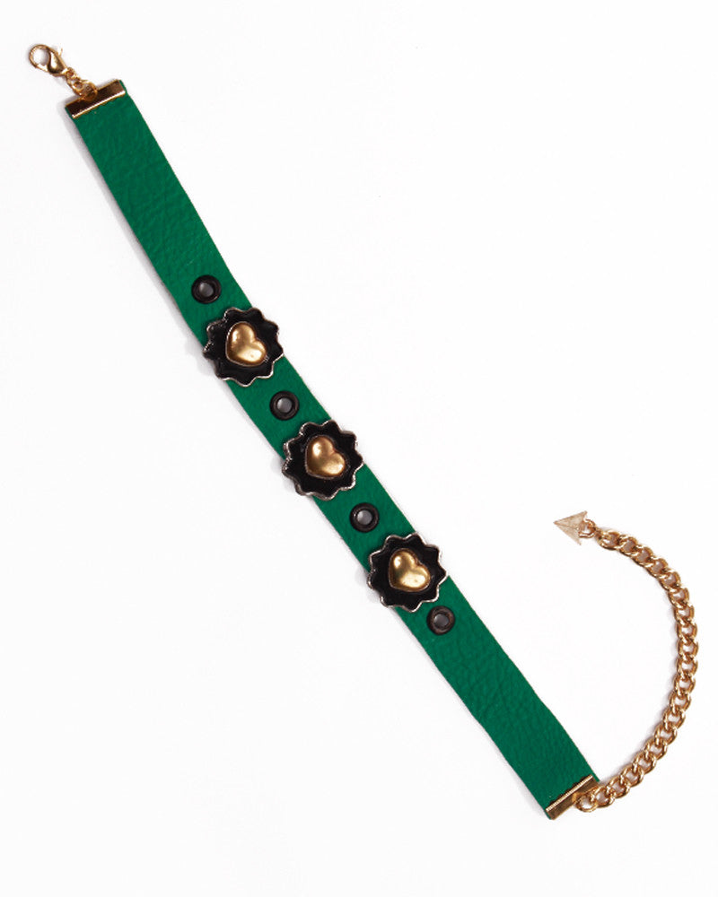 GREEN LEATHER FLOWER CHOKER - Eros Mortis
