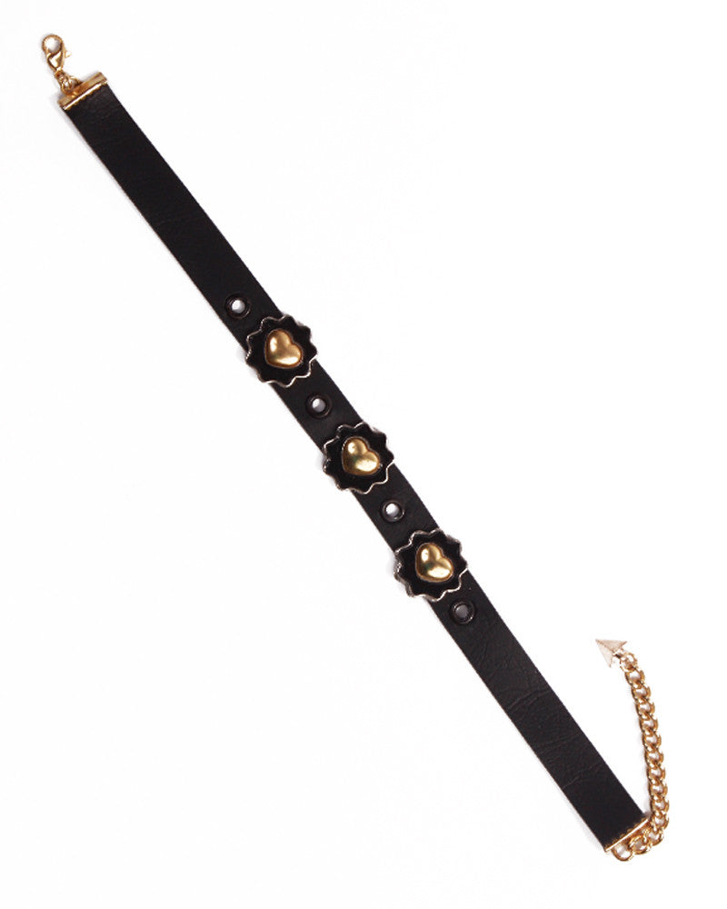 BLACK LEATHER FLOWER CHOKER