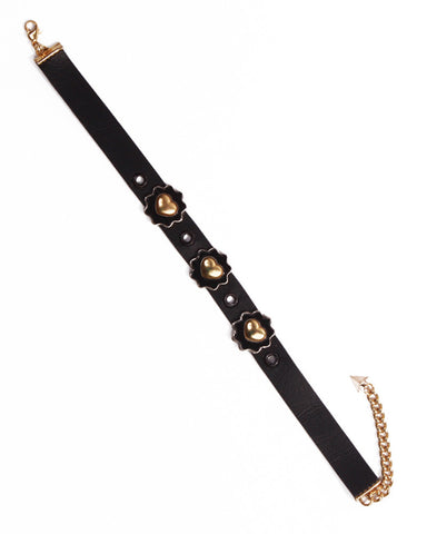 BLACK LEATHER FLOWER CHOKER - Eros Mortis